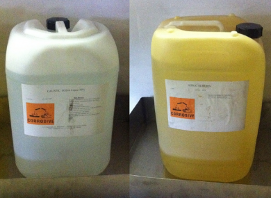 Drums of caustic soda (L) and nitric acid, similar to these, were stolen from a factory in Limerick overnight.
