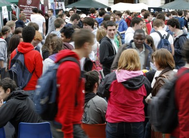 Students at TCD's Freshers Week last year: Bank of Ireland is to offer loans to students' parents to cover the annual €2,250 registration fee.