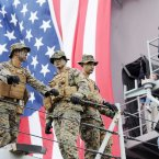US Marines (from left) Christopher Hardin, Zachary Snipes, and Benjamin Cooper pictured on board the USS Fort McHenry. (Photo: Laura Hutton/Photocall Ireland)