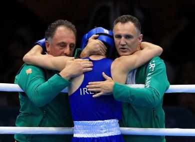 Michael Conlan celebrates with coach Billy Walsh and coach Zaur Anita.