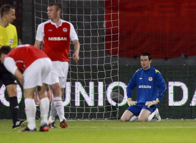 Pat's goalkeeper Brendan Clarke dejected after conceding the third goal.