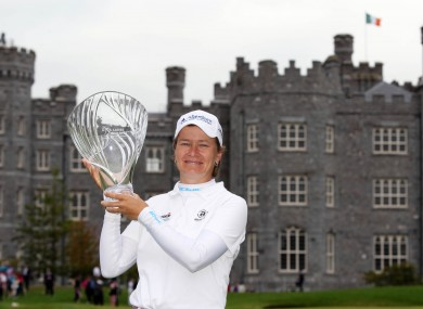 Caitriona Matthew lifts the Irish Open trophy.