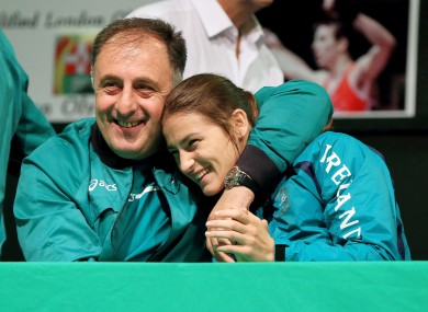 Boxing coach Zaur Antia and Katie Taylor at the National Stadium last night.