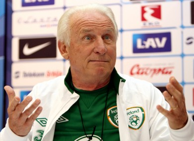 Ireland manager Giovanni Trapattoni at today's press conference.