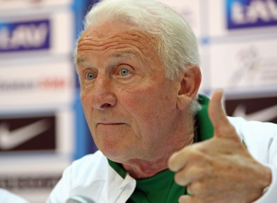 Ireland manager Giovanni Trapattoni at yesterday's press conference.