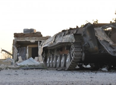 A destroyed Syrian armored vehicle (File photo)
