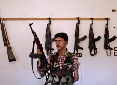 Syrian rebel fighter Ali Alnajjr, 20, in Marea near Aleppo.