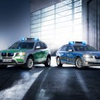 The BMW X3 (left with green detailing) and the BMW 5 Series Touring Police Vehicles. (Image: BMW Group)