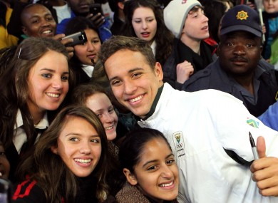 Chad Le Clos with supporters upon his arrival into Johannesburg.