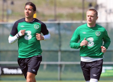 Fulham stars Stephen Kelly and Damien Duff.