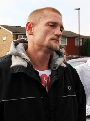 Stuart Hazell pictured on Wednesday 8 August as he left Christine Sharp's home