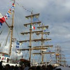 The flag-festooned vessels in Dublin, photographed by @laineyk251.