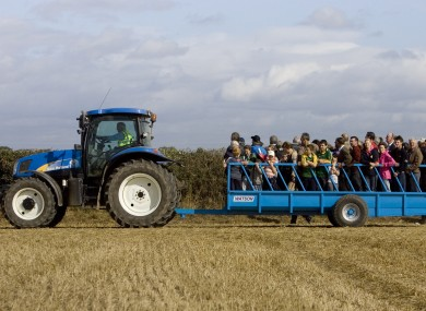 Visitors using the shuttle tractor service at last years championship.