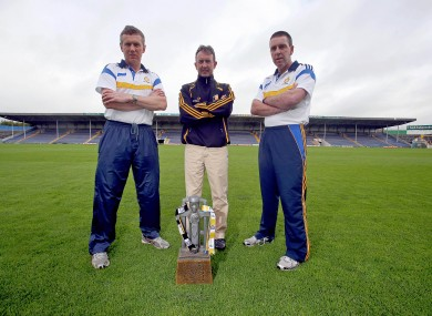 Clare joint manager's Donal Moloney and Gerry O'Connor with Kilkenny manager Richie Mulrooney ahead of Saturday's clash.