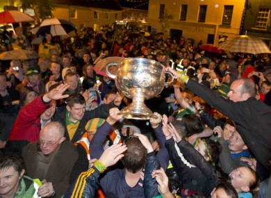 Fans turn out to welcome the Sam Maguire Cup in Pettigo on Monday night.