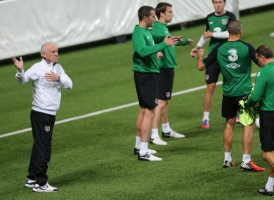 Trapattoni takes training during the week.