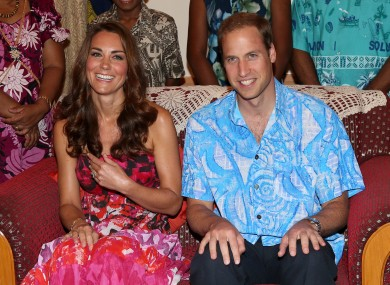 The Duke and Duchess of Cambridge in traditional Island clothing during a visit to the home of Governor General Frank Kabui in Honiara, Solomon Islands today.
