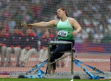 Ireland's Orla Barry during the Women's Discus Throw - F57/58 at the Olympic Stadium.