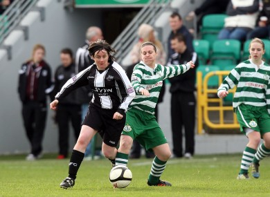 Shamrock Rovers' Lyndsey Hayden and Sandra Mulhall of Raheny collide when the sides met in January.