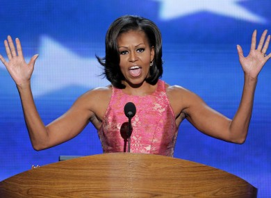 First Lady Michelle Obama addresses the Democratic National Convention in Charlotte, N.C., on Tuesday.