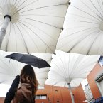Lynsey Ni Rainail from TNCT admires the first opening of the umbrella-style canopies on 25 September last year. Image: Sasko Lazarov/Photocall Ireland.