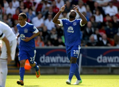 Anichebe celebrates Everton's first.