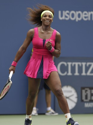Serena Williams reacts after winning her match against Czech Republic's Andrea Hlavackova in the fourth round of play at the 2012 US Open tennis tournament.