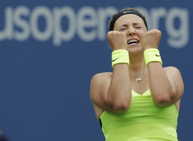 Victoria Azarenka, of Belarus, reacts after winning her match against Samantha Stosur.