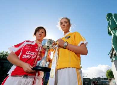 Aine Magee of Louth with Anna Finnegan of Antrim who contest the Junior Final.