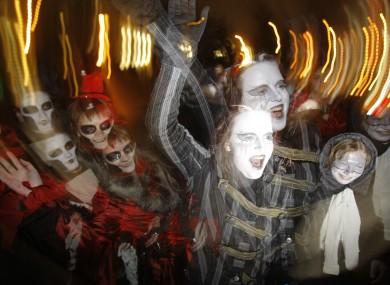 Halloween revellers in Minsk, Belarus last year.