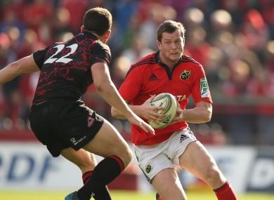 Denis Hurley in action for Munster against Edinburgh.
