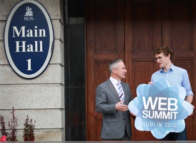 Jobs minister Richard Bruton speaks with DWS founder Paddy Cosgrave at the RDS ahead of today's Dublin Web Summit