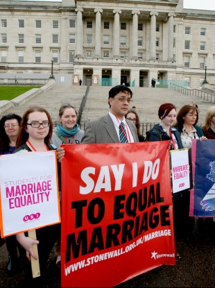 Frankie Dean, from Fermanagh, joined protestors at Parliament buildings Stormont as a call for same sex couples to be given the right to marry in Northern Ireland was defeated.