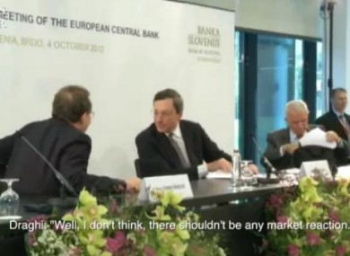 Still from on-mic post-conference chat between  Constâncio, left, and Draghi.