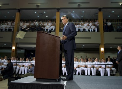 Mitt Romney gives a foreign policy speech at Virginia Military Institute earlier today.