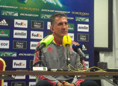 Rob Penney (and TheScore.ie microphone) at the post-match press conference at Thomond Park.