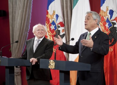 President Higgins with his Chilean counterpart Sebastian Pinera in Santiago yesterday