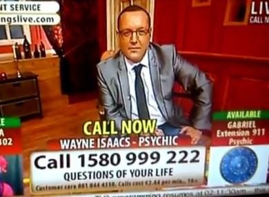 Still from a Psychic Readings Live show on TV3.