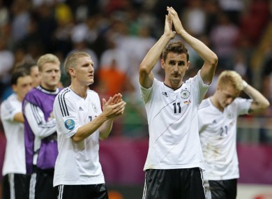Schweinsteiger and Klose after defeat to Italy at Euro 2012.