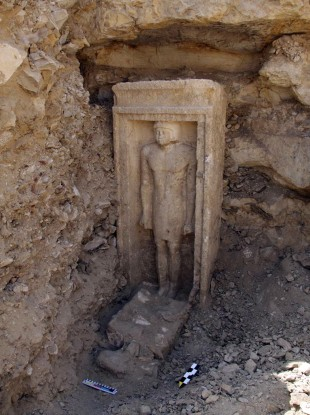 A recently discovered statue in a complex of tombs, including one of a pharaonic princess, in the Abusir region