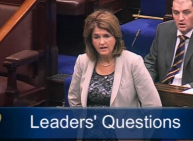 Joan Burton speaking in the Dáil this morning
