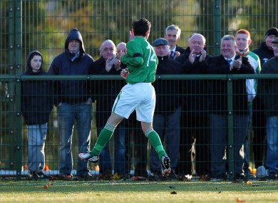 Ireland's Cemal Ramadan celebrates scoring his second goal of the game