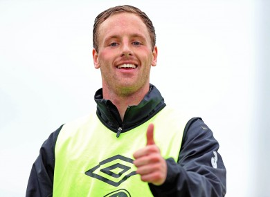 Meyler during squad training in Malahide yesterday.
