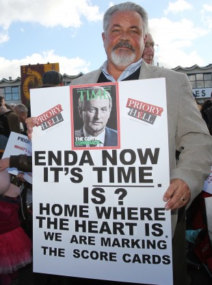George Finglas protests at the one year anniversary of the Priory Hall evacuation.