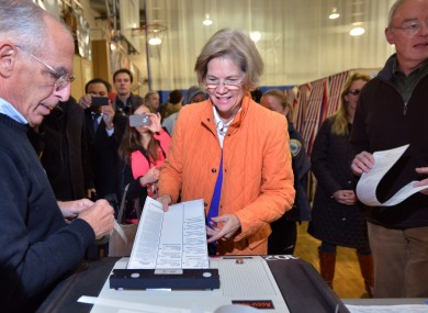 Elizabeth Warren casts her vote in Massachusetts earlier today.