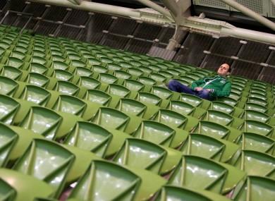 Empty seats at the Aviva Stadium last night.