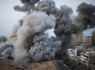 Smoke rises after an Israel forces strike on Gaza City today