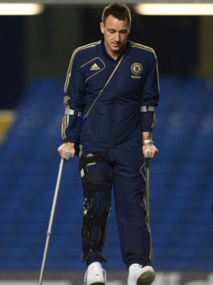 Terry leaves on crutches.