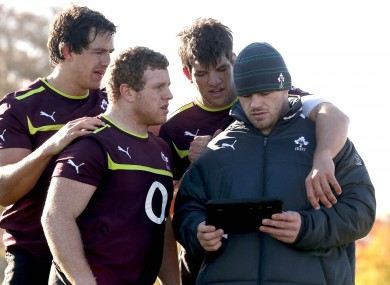 Mike McCarthy, Sean Cronin, Donncha O'Callaghan and Cian Healy enjoying that Lance Armstrong article.