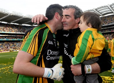 Donegal's goalkeeper Paul Durcan and manager Jim McGuinness celebrate September's All-Ireland final win.